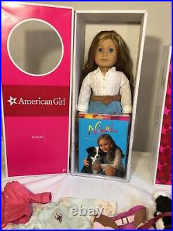 AMERICAN GIRL Doll NICKI Plus Outfits, Dog, Accessories EUC