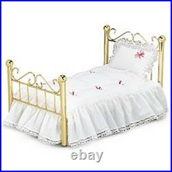 AMERICAN GIRL Doll Samantha's BED and BEDDING some imperfections box dents stain