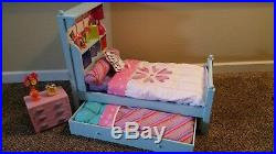 American Girl Bouquet Trundle Bed Set with Bedding and Nightstand