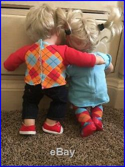 American Girl Boy Bitty Baby Twins Lot Furniture Outfit Bundle Blonde Blue Eye
