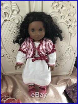 American Girl Cecile/Marie Grace Dress LOT + 3 Extra Outfits 2 Mini Dolls & Book