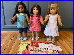 American Girl Chrissa, Gwen, & Sonali 18 Dolls and Books Display Only
