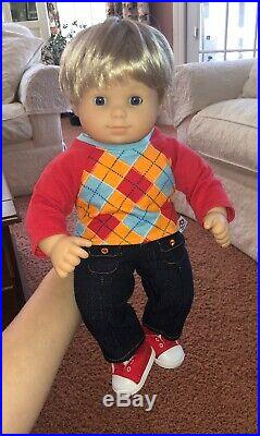American Girl Doll Bitty Baby Blonde Hair Blue Eyes Twins Boy And Girl Full Set