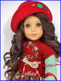American Girl Doll Custom OOAK Christmas Holiday Curly Brown Hair Green Eyes