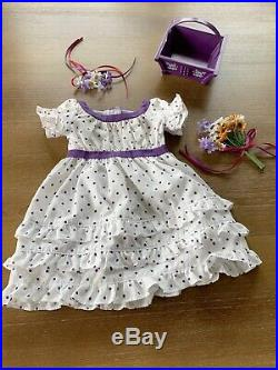 American Girl Doll Kirsten Retired MidSummer Polka Dot Dress, Bouquet, Basket