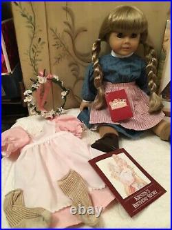 American Girl Doll Kirsten Retired, birthday dress, charm & bracelet, book Withbox