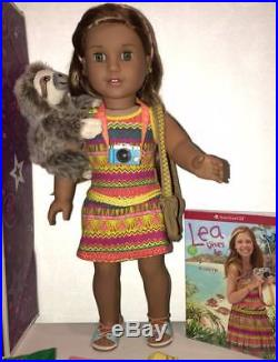 American Girl Doll Lea Clark + 3 Outfits + Camera+ Sloth+ Book+Magazine LOT
