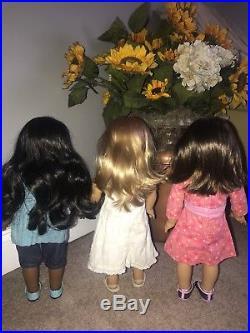American Girl Doll Lot Sonali, Gwen Best Friends and Chrissa 2009 Complete Meet