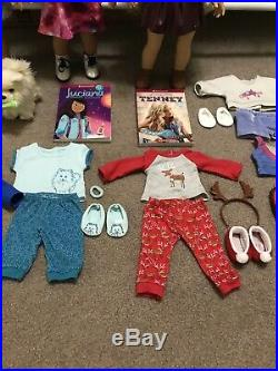 American Girl Doll Lot of Three with Clothing and Accessories