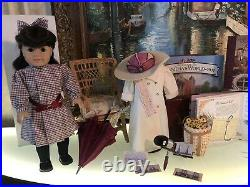 American Girl Doll Samantha Travel Duster Parasol Scarf Stereoscope Book Set