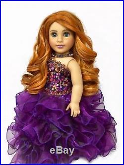 American Girl Doll VioletaCustom OOAK Copper Red Hair Teal Blue Eyes Princess
