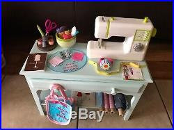 American Girl GOTY CHRISSA's CRAFT STUDIO Table Sewing Machine +accessories LOT