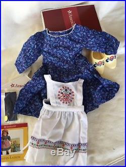 American Girl Kirsten Baking Outfit Dress Apron Ribbons Clogs in Original Box