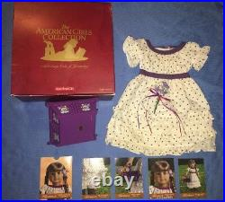American Girl Kirsten Midsummer Outfit with Purple Dotted Dress, Basket, Cards