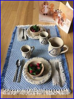 American Girl Kirsten's Pottery Set with table runner, napkins, and strawberries