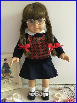 American Girl MOLLY Doll, Dress, PJs, Book Lot VINTAGE / Retired Pleasant Comp