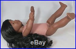American Girl OOAK Addy Doll BEAUTIFUL Long Dark Black Wig & Custom Amber Eyes
