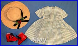 American Girl Pleasant Co Kirsten Summer Dress with Straw Hat, Red Boots COMPLETE
