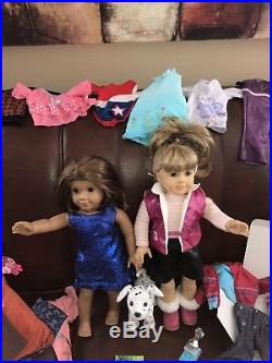 American Girl Pleasant Co Lot 2 Dolls, Outfits, Dog, Science, Blonde & Brunette