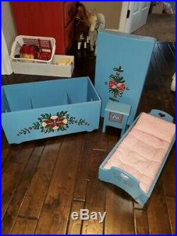 American Girl Pleasant Company Kirsten Trunk Bed Nightstand Complete Lot