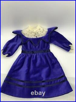 American Girl SAMANTHA'S BLUE VELVET Party DRESS & HEADBAND Limited Edition 2008