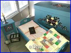 American Girl Sweet Dreams Kirsten Trunk, Bed, Washstand, Nighttime Necessities