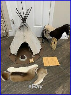 American Girl teepee For Kaya With Steps High Horse, Campfire And Accessories