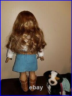 American girl doll Nicki with dog and book Retired