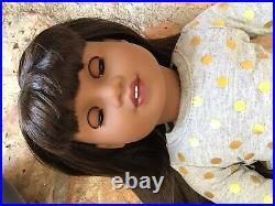 Angelica Custom OOAK African American Girl Doll Hazel Blue Eyes Brown Hair Bangs
