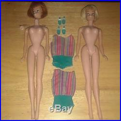 Barbie Doll American Girl 1958 Redhead Blonde Japan Swimsuit Shoes Lot 2 VTG