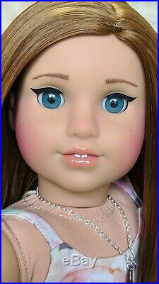 Custom American Girl Doll BeForever Rebecca Saige Turquoise Blue Eyes Brown Wig