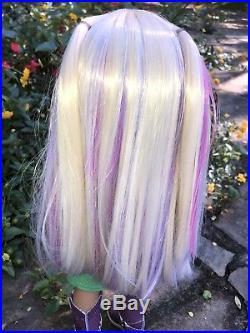 Custom American Girl Doll KIT KITTREDGE OOAK new UNICORN wig, blue eyes EUC