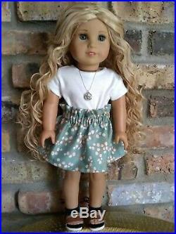Custom OOAK American Girl Doll Blonde Curly Hair Aquamarine Marie Grace Eyes