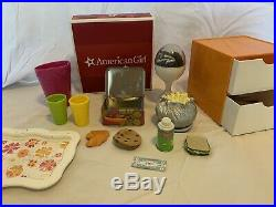 EUC Retired American Girl Dolls 18 Julie and Ivy Egg Chair Set, Book Set LOT