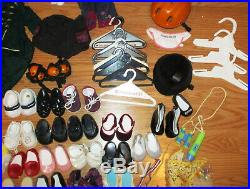 Huge Lot Of American Girl Doll Clothes, shoes, hangers, accessories, bracelet+++