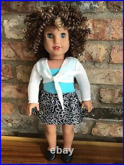 Jessica Custom American Girl Doll OOAK Brown Curly Hair Blue Eyes Courtney 80s
