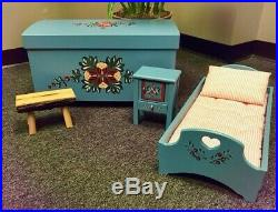 Kirsten American Girl Trunk, Bed, Nightstand and School Bench