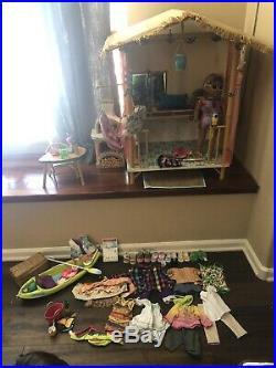 Large Lot Of American Girl Doll GOTY 2016 Lea Clark's Rainforest Hut Plus Doll