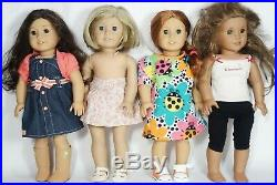 Lot of 4 Dressed as Found AMERICAN GIRL Dolls, One PLEASANT COMPANY