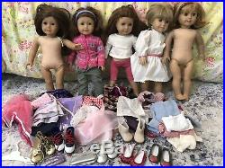 Lot of 5 American girl Pleasant Company dolls, clothes and accessories