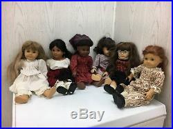 Lot of 6 American Girl Dolls with Clothing and Acessories