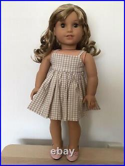 Melissa Custom American Girl Doll OOAK Blonde Curly Hair Bangs Light Brown Eyes