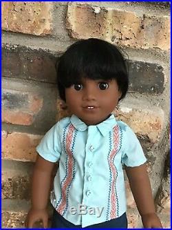 Noah Custom Boy American Girl Doll OOAK Black Hair Brown Eyes Dark Skin
