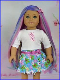 OOAK Rainbow Princess American Girl 18 Doll Custom Hair Aqua Eyes