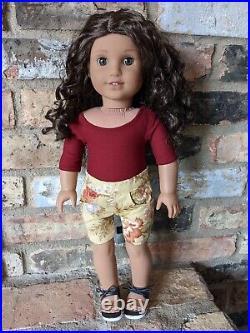 Paulina Custom American Girl Doll OOAK Dark Brown Curly Hair Amber Eyes Lea