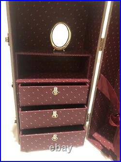 Pleasant Company American Girl Samantha Steamer Trunk with oval brass mirror