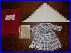 RARE American Girl Kirsten Promise Dress Shawl Outfit Purple Plaid EUC Book, Bag