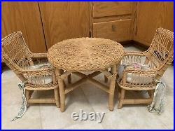 Retired American Girl Doll Samantha Party Set Wicker Table & Chairs