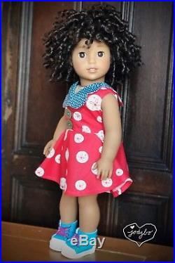 SPUNKY Custom American Girl Doll NANEA brown eyes TM 58 wig OOAK jodybo