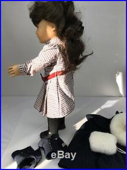 Samantha American Girl Doll Pleasant Company Wide Body Meet Dress Cape Hat Muff